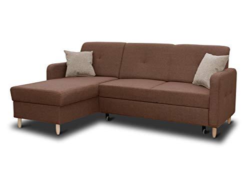 Ecksofa Oslo mit Schlaffunktion und Bettkasten - Scandinavian Design Couch, Sofagarnitur, Couchgarnitur, Polsterecke, Holzfüße