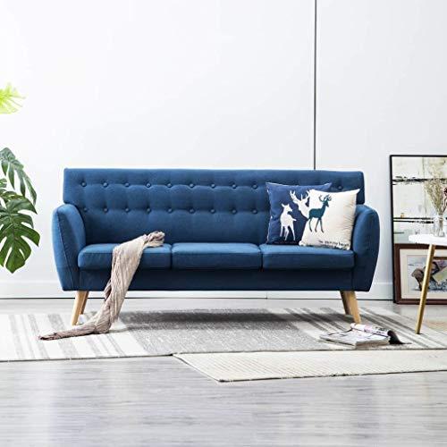 Festnight 3-Sitzer-Sofa | 3er Stoff Couch | Wohnzimmer Stoffsofa | Polstersofa | Loungesofa | Blau Stoffbezug mit MDF…