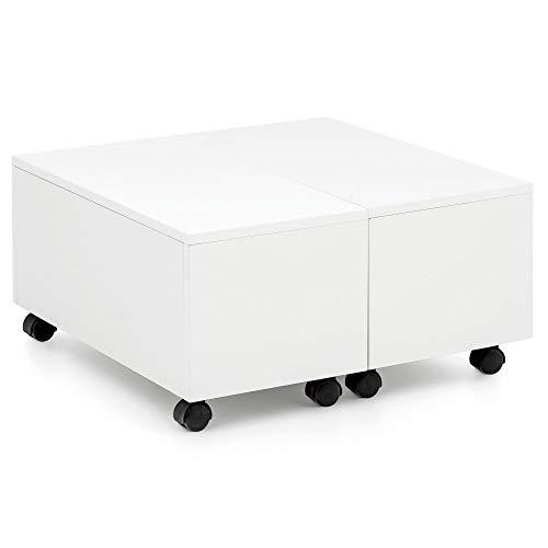 FineBuy Couchtisch 60 x 60 cm Weiß Hochglanz Rollbar mit Schublade | Wohnzimmertisch mit Staufach | Sofatisch Wohnzimmer…