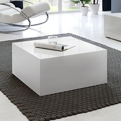 FineBuy Couchtisch MONOBLOC 60 x 60 x 30 cm Hochglanz MDF Weiß lackiert | Design Wohnzimmertisch Cube quadratisch…