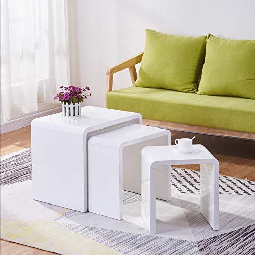 GOLDFAN 3er Set Satztische Hochglanz Quadratischer Moderner Couchtisch für Wohnzimmer, Schlafzimmer, Multifunktionaler…