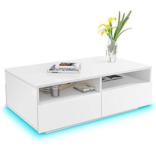 Greensen Couchtisch Weiß Hochglanz Wohnzimmertisch mit 4 Schubladen Sofatisch Beistelltisch mit 16 Farben LED…
