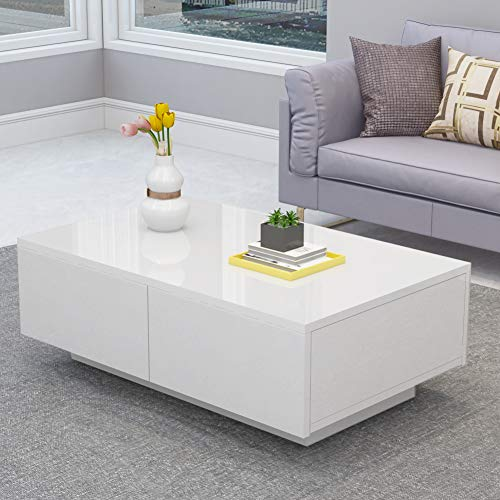 Greensen Couchtisch Weiß Hochglanz Wohnzimmertisch mit 4 Schubladen Sofatisch Modern Design Kaffeetisch Tisch Holz für…