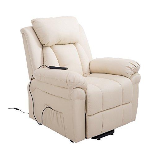 HOMCOM Elektrischer Fernsehsessel Aufstehsessel Relaxsessel Sessel mit Aufstehhilfe, Beige, 96L x 93B x 103H cm