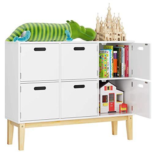 HOMECHO Kommode Kinderzimmer Bücherregal Schrank Spielzimmer Sideboard in weiß mit 6 Fächern Spielzeugschrank…