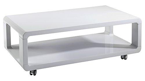 HOMEXPERTS Couchtisch LEONA / Sofatisch in Hochglanz Weiß auf Rollen / moderner, niedriger Beistelltisch rollbar und mit Ablage / 105 x 38 x 5 cm (BxHxT)