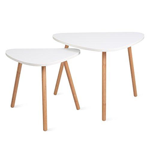 Homfa 2x Beistelltisch weiß Couchtisch rund Wohnzimmertisch skandinavisch Kaffetisch klein Satztisch Set Groß(60x39…