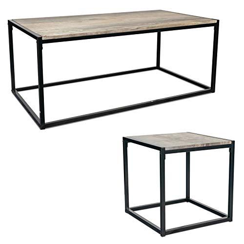 Harbour Housewares Couchtisch & Beistelltisch - Industrial-Look - helles Holz/Stahlrahmen - 2er-Set