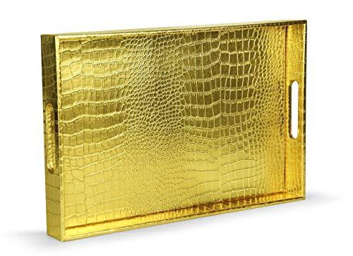 Home Redefined Wunderschönes Modernes Elegantes 45 x 30 x 5 cm Rechteck glänzend Alligator Croc Dekorative Ottoman…