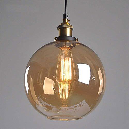Huahan Haituo Pendelleuchte Light Vintage industriellen Metall-Finish Klarglas Glaskugel Runde Schatten Loft…