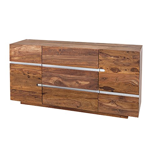 Invicta Interior Massives Sideboard FIRE & Earth II 160cm Sheesham Holz Stone Finish Einzigartige Maserung