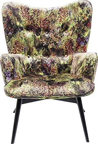 Kare Design Sessel Vicky Velvet, samtiger Loungesessel, TV-Sessel mit dunklem Holzgestell