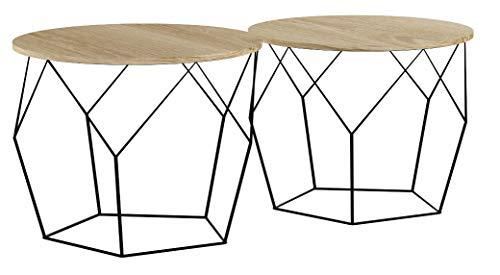 LIFA LIVING 2er Set Couchtische rund aus schwarzem Metall und MDF-Holz, 2 Geometrische Beistelltische im Vintage-Stil mit Korbfunktion, bis zu 20 kg Belastbarkeit