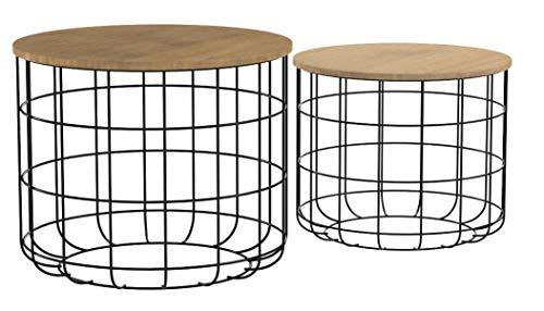 LIFA LIVING Runde Couchtische im 2er Set, 2 Beistelltische aus schwarzem Metall und MDF-Holz, Vintage-Stil & Industrie…