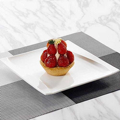 MALACASA, Serie Carina, 12 teilig Set Cremeweiß Porzellan Kuchenteller Dessertteller Frühstücksteller 8,25 Zoll / 20…