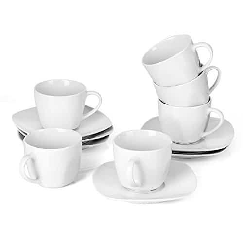 MALACASA, Serie Elisa, 12 teilig Set Cremeweiß Porzellan Kaffeeservice Teeservice, je 6X Kaffeetassen mit 6X Untertassen…