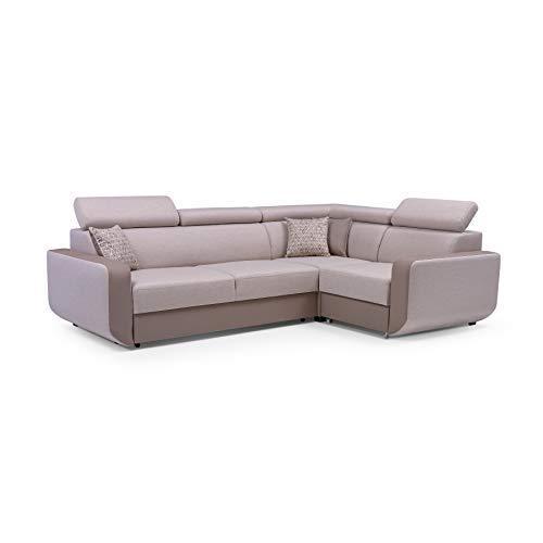 MOEBLO Ecksofa mit Schlaffunktion Eckcouch mit Bettkasten Sofa Couch L-Form Polsterecke Celine (Beige + Braun, Ecksofa…