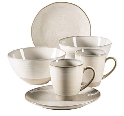 MÄSER 931370 Serie Nottingham Vintage Geschirr-Set für 2 Personen, 6-teiliges Frühstücksgeschirr mit Frühstücksteller…