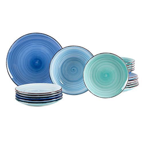 MamboCat 18tlg. Teller-Set Blue Baita | edles Steingut-Geschirr | großer Speiseteller + tiefer Suppenteller…