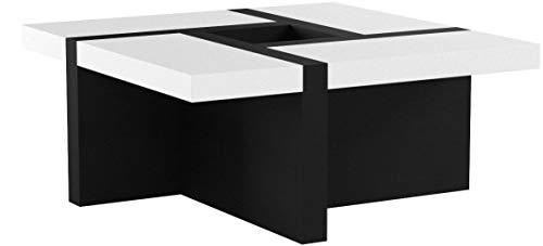 Melko Couchtisch Wohnzimmertisch weiß/schwarz, 80x80x35 cm, Beistelltisch Designertisch Holz