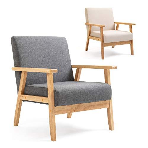 Mingone Polstersessel Loungesessel Grau Cocktailsessel Wohnzimmersessel Einzelsofa für Esszimmer & Wohnzimmer, Eleganter Retro Stuhl aus Stoff mit Massivholz-Struktur und Rückenlehne
