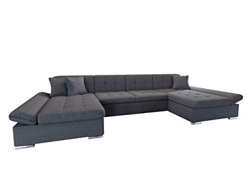 Mirjan24 Ecksofa Alia mit Regulierbare Armlehnen, 2 Bettkasten und Schlaffunktion, U-Form Eckcouch vom Hersteller, Sofa Couch Wohnlandschaft