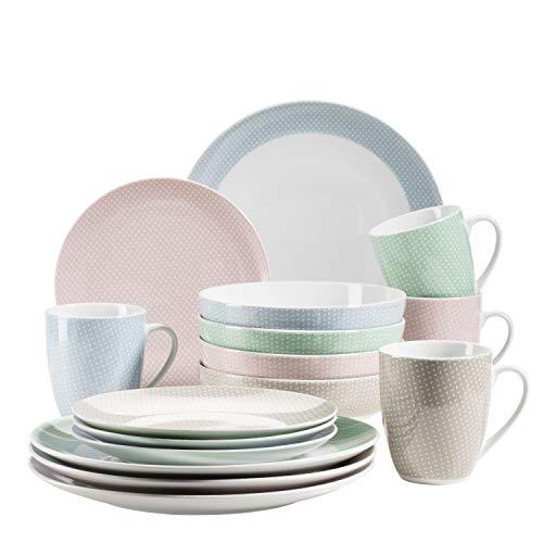 MÄSER 931564 Kitchen Time II Geschirr-Set für 4 Personen, 16-tlg Kombiservice in Pastellblau mit dezentem Muster…