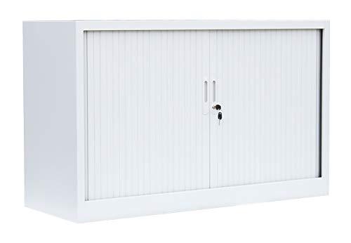 Querrollladenschrank Sideboard 120cm breit Stahl Büro Aktenschrank Rollladenschrank Weiß 555127 (HxBxT) 750 x 1200 x 460…