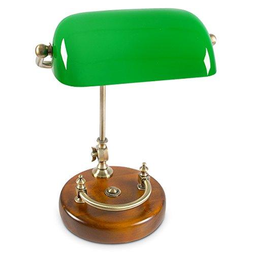 Relaxdays Bankerlampe grün mit verziertem Holzfuß - Retro Tischlampe grüne Schreibtischlampe Bibliotheksleuchte Banker Lampe im 20er Jahre Dekor - Farbe: Grün, Messing, Holz - Maße ØH: ca. 20, 40 cm