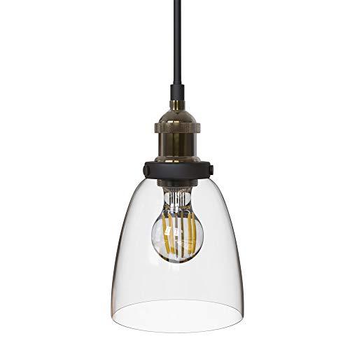 B.K.Licht I Retro Pendelleuchte I 1-flammig I E27 Fassung max. 60W I Glasschirm I Messing I Vintage Pendellampe I…