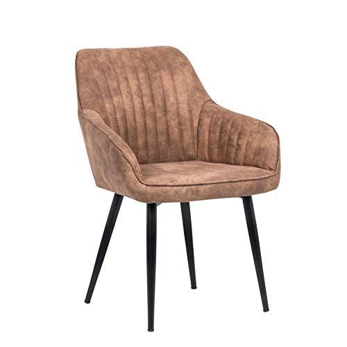 Riess Ambiente Edler Design Stuhl Turin Vintage Light Brown mit Armlehne Esszimmerstuhl Konferenzstuhl
