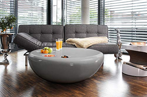 SalesFever Couch-Tisch grau Hochglanz rund aus Fiberglas Durchmesser 100 cm   Trisk   Super-Stylischer Wohnzimmer-Tisch…
