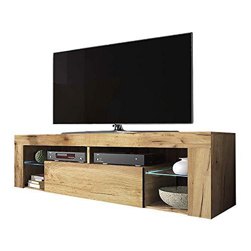 Selsey Bianko – TV-Lowboard / Fernsehschrank Stehend mit Klapptür und LED Beleuchtung , Holzoptik Eiche Lancaster, 35 x…