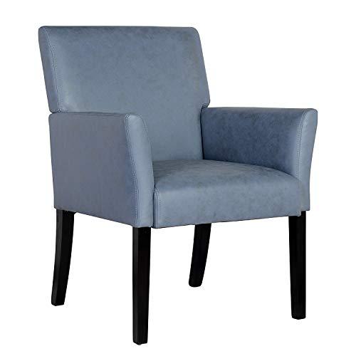 SixBros. 1010/7695 Esszimmerstuhl aus Kunstleder - Polsterstuhl mit Armlehne – Polstersessel in grau – Stuhl für…