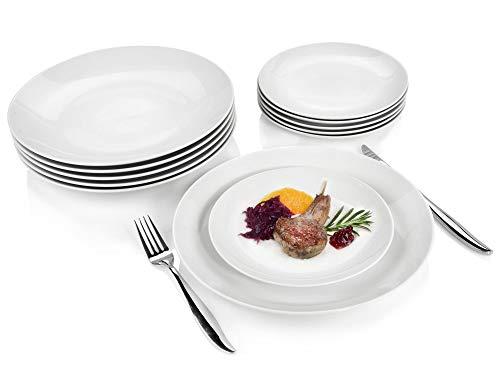 Sänger Geschirrset New Port aus Porzellan 12 teilig | Tellerset bestehend aus 6 Speisetellern und Desserttellern…