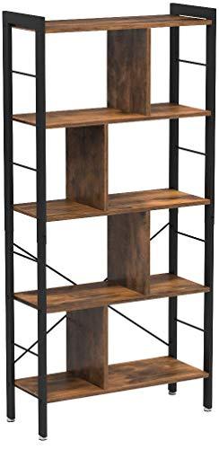 VASAGLE Bücherregal, Büroregal, Raumteiler mit 4 Ebenen, Standregal im Industrie Design Wohnzimmer, Büro, Arbeitszimmer, viel Stauplatz, groß, stabil, einfacher Aufbau, Vintage LBC12BX