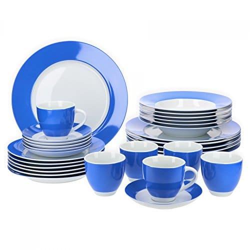 Van Well Vario hochwertiges Porzellan Geschirrset für 6 Personen für Gastro Hotel Privat I zweifarbiges Speiseservice-Tafel-Set Spülmaschinensicher I Kombi-Service 30-teilig