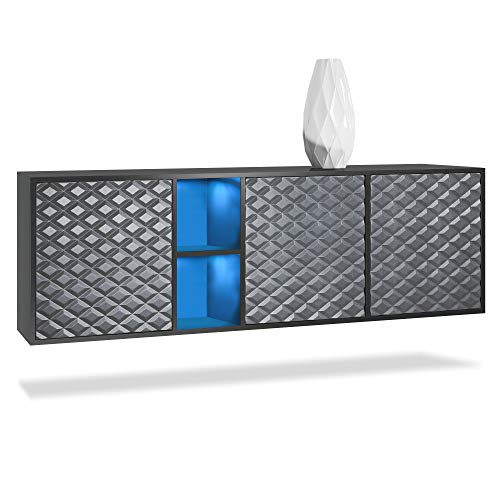Vladon Sideboard Schrank Kuba, Korpus in schwarz matt / Front in 3D Stahlgrau mit LED Beleuchtung