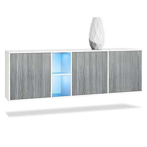 Vladon Sideboard Kommode Cuba, Korpus in Weiß matt/Fronten in Avola-Anthrazit, inkl. LED Beleuchtung