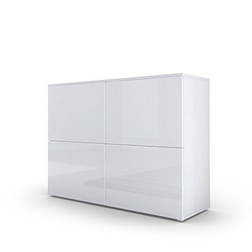 Vladon Kommode Sideboard Rova, Korpus in Weiß matt/Türen in Weiß Hochglanz und Eiche Natur