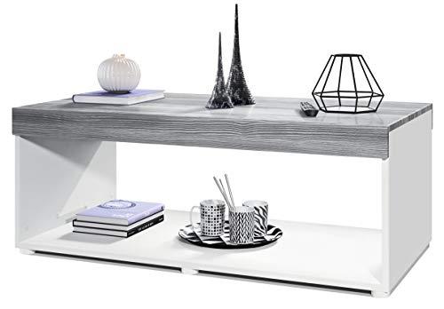 Vladon Couchtisch Wohnzimmertisch Pure mit Zwei großen Ablageflächen, Korpus in Weiß matt/Tischplatte und Blenden in…