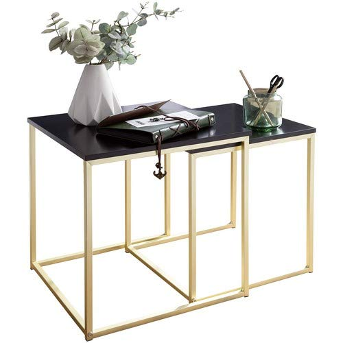 Wohnling Satztisch CALA Schwarz/Gold Beistelltisch MDF/Metall | Couchtisch Set aus 2 Tischen | Kleiner Wohnzimmertisch…