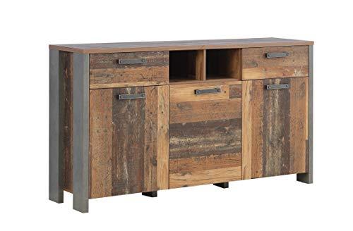 Wohnorama Sideboard 3-TRG 2 Schubkästen Clif von Forte Old Wood Vintage/Betonoptik Dunkelgrau i by