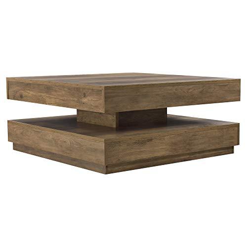 [en.casa] Couchtisch 76x76x38cm Beistelltisch mit Ablagefläche Wohnzimmertisch drehbare Tischplatte Sofatisch Betonoptik/Holzoptik/Weiß/Schwarz