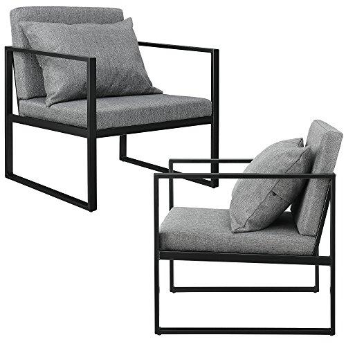 [en.casa] Esszimmersessel mit Rückenkissen im 2er-Set Lehnstuhl Relaxsessel Esszimmer Stuhl Sessel Polstersessel…