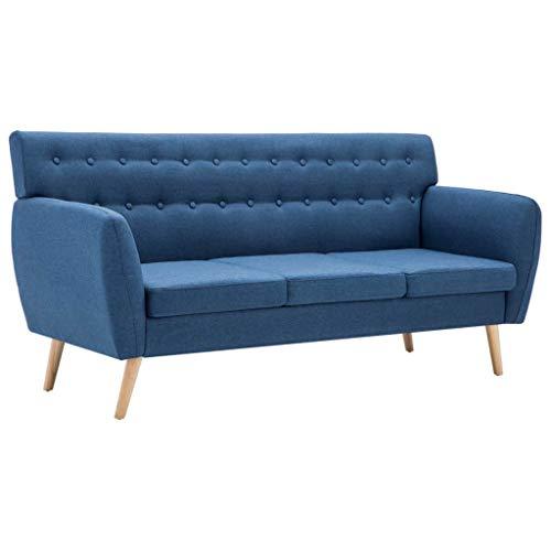 mewmewcat 3-Sitzer-Sofa 3er Stoff Couch Wohnzimmer Stoffsofa Polstersofa Loungesofa Stoffbezug 172x70x82 cm Blau
