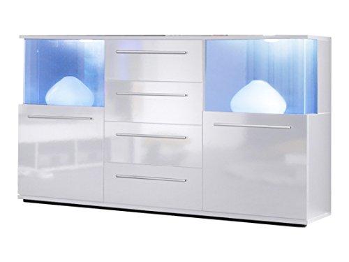 trendteam smart living Wohnzimmer Sideboard Kommode Punch, Hochglanz mit viel Stauraum und Ablagefläche, 141,5 x 82 x 40 cm Front, weiß / weiß