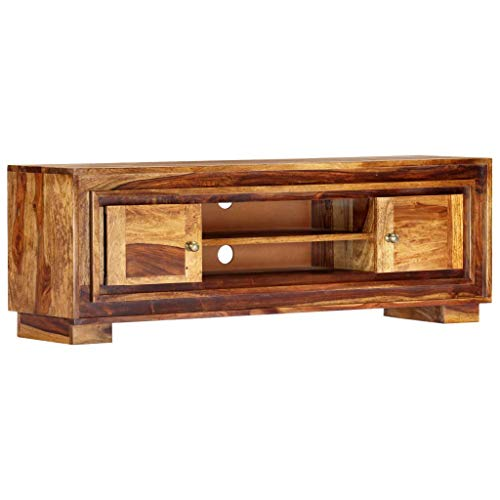 vidaXL Sheesham-Holz Massiv TV Schrank mit 2 Türen 2 Ablagefächern Lowboard Fernsehtisch Fernsehschrank HiFi-Schrank Sideboard Palisander 118x30x40cm