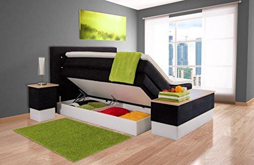 Piano Boxspringbett 90x200 7-Zonen Taschenfederkern Lieferbar in Härtegrad H2 H3 H4 Mit Komfort Topper Kostenlose…