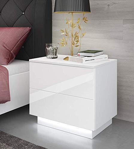 123home24.com Nachttisch LED Nachtkommode Hochglanz Nachtschrank Weiß Beleuchtung KOMMODE weiß